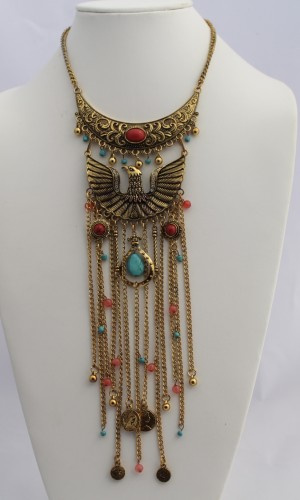 Phoenix Tribal Jewel Necklace Gold