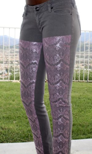 Women Purple Lace Jeans